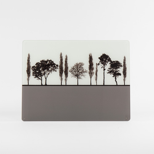 English landscape design grey glass worktop saver by Jacky Al-Samarraie
