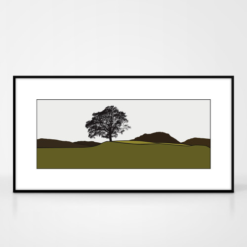 Landscape print of Grasmere in the Lake District by designer Jacky Al-Samarraie.  Shown in frame for reference.
