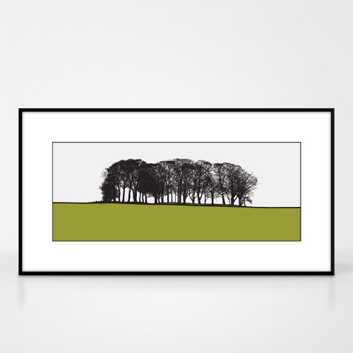Landscape print of St. Ives in Bingley, West Yorkshire by designer Jacky Al-Samarraie.  Shown in frame for reference.
