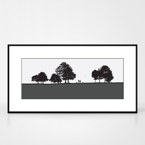 Landscape print of dog walkers in Roundhay Park in Leeds by designer Jacky Al-Samarraie.  Shown in frame for reference.
