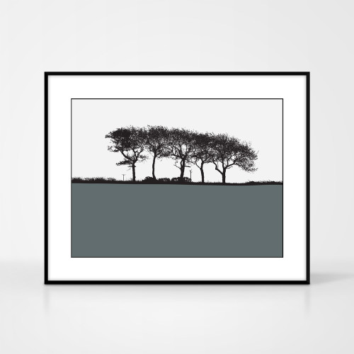 Landscape print of trees in Elgin, Moray, Scotland by designer Jacky Al-Samarraie.  Shown in frame for reference.