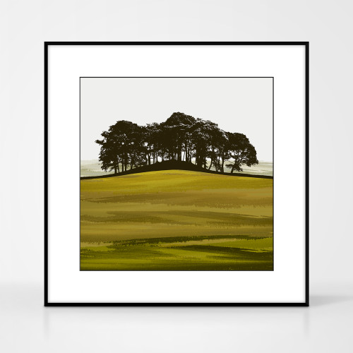Landscape print of Coupar Angus in Fife, Scotland by designer Jacky Al-Samarraie.  Shown in frame for reference.