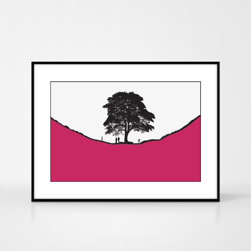 Jacky Al-Samarraie Landscape Print of Sycamore Gap, with a family of walkers, framed for illustration purposes only.