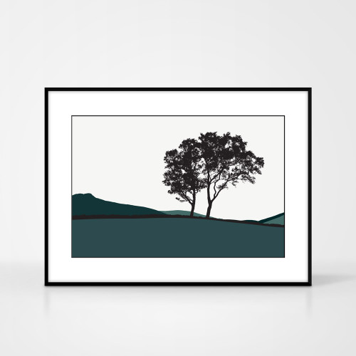 Jacky Al-Samarraie Landscape Print of Braemar, in Teal, framed for illustration purposes only.