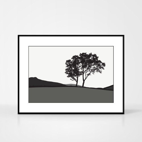Jacky Al-Samarraie Landscape Print of Braemar, in Grey, framed for illustration purposes only.
