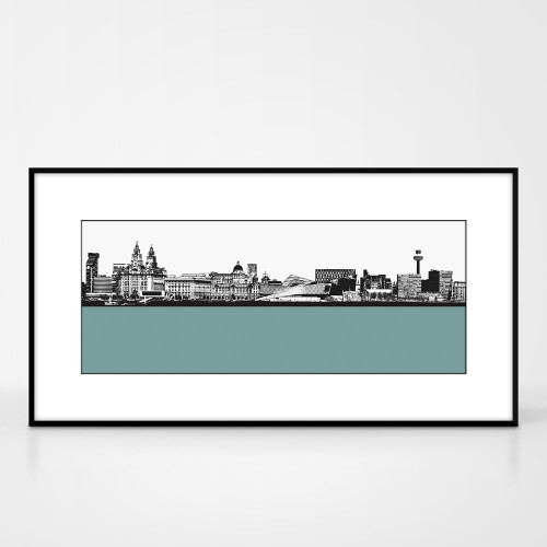 Jacky Al-Samarraie City Landscape Print of the Liverpool skyline, framed for illustration purposes only.