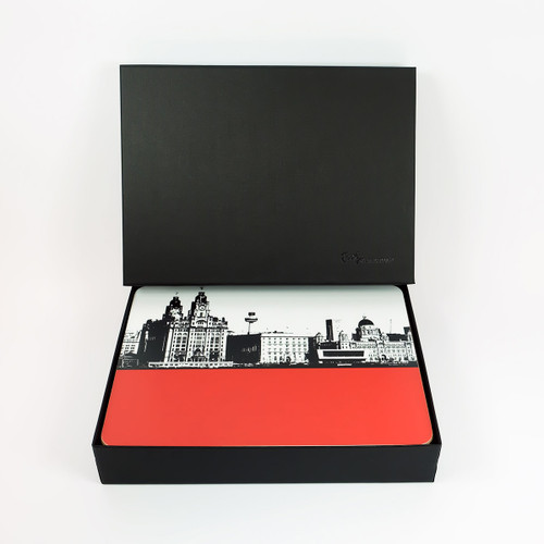 Set of 6 Liverpool Placemats in a Luxury Black Gift Box by Jacky Al-Samarraie at The Art Rooms