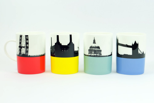 Set of 4 London Cityscape Bone China Mugs by Jacky Al-Samarraie