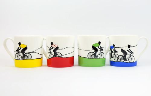 Set of 4 Cycling Mugs celebrating the Tour de France by Jacky Al-Samarraie