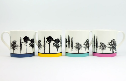 Set of four coloured Landscape tree mugs by Jacky Al-Samarraie