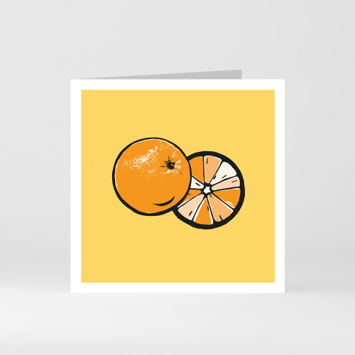 A modern graphic greeting card of orange fruit by designer Jacky Al-Samarraie