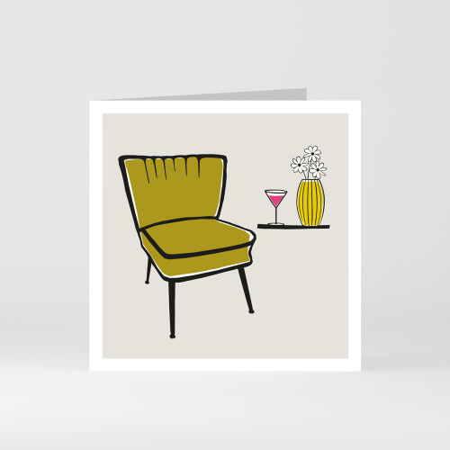A modern graphic greeting card of cocktail chairs and a martini glass by designer Jacky Al-Samarraie