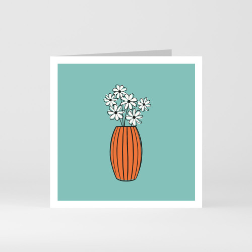 A modern graphic greeting card of a flower vase and flowers by designer Jacky Al-Samarraie
