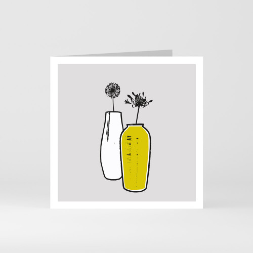 A modern graphic greeting card of two vases by designer Jacky Al-Samarraie