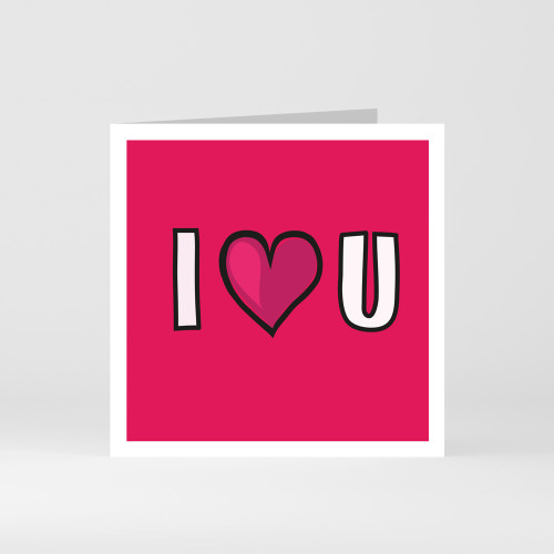 "A modern graphic greeting card that says ""I love you"" by designer Jacky Al-Samarraie"