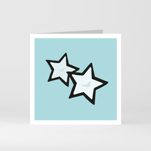 A modern graphic greeting card of with a star design by designer Jacky Al-Samarraie