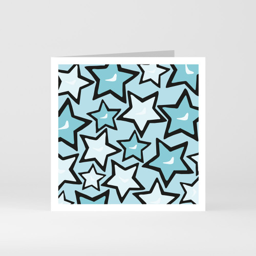 A modern graphic greeting card with a pattern of stars by designer Jacky Al-Samarraie