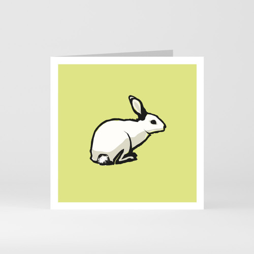 A modern graphic greeting card of a cute rabbit by designer Jacky Al-Samarraie