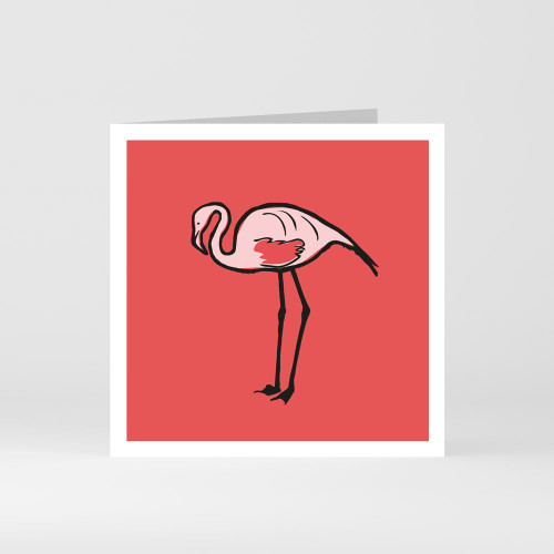 A modern graphic greeting card of a cute flamingo by designer Jacky Al-Samarraie