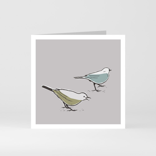 A modern graphic greeting card of two cute song thrush birds by designer Jacky Al-Samarraie