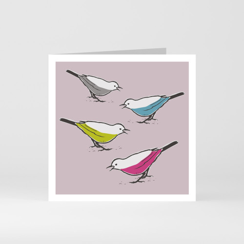 A modern graphic greeting card of four cute song thrush birds by designer Jacky Al-Samarraie