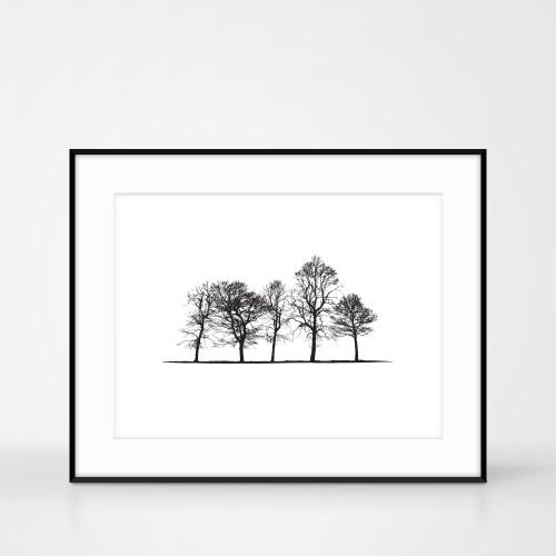Yorkshire Landscape Tree screen print in frame size 50 x 40cm by Jacky Al-Samarraie