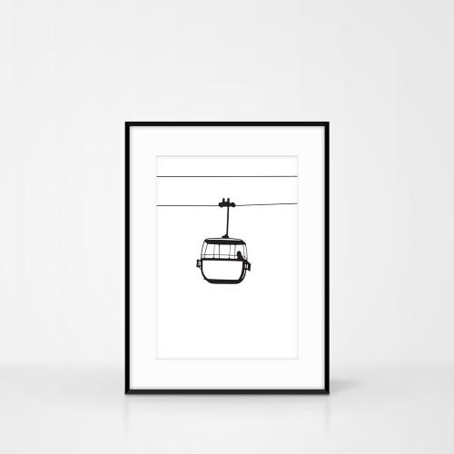 Monochrome Great Orme Cable Car Screen Print by Jacky Al-Samarraie