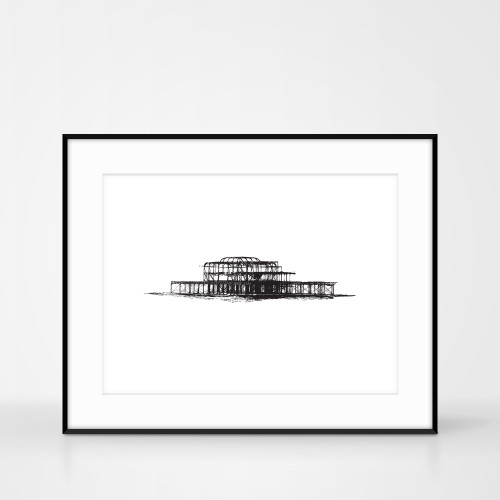 Screen Print of the West Pier Brighton by Jacky Al-Samarraie. Frame size 50 x 40cm.