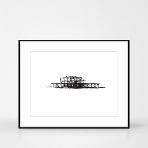Screen Print of the West Pier Brighton by Jacky Al-Samarraie. Frame size 50 x 40cm.
