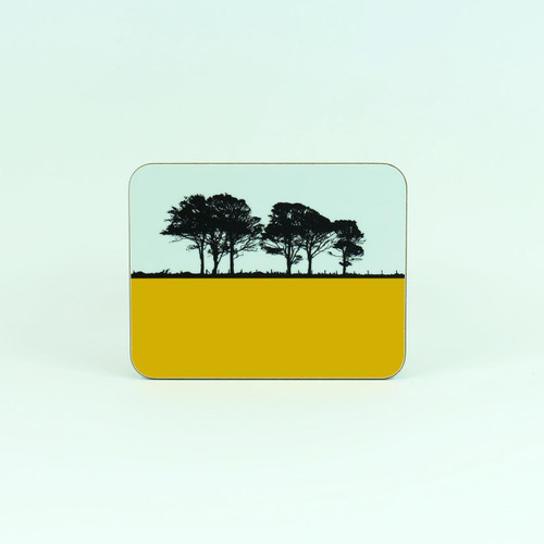 Mustard colour drinks coaster, Lake District - Gosforth. By Jacky Al-Samarraie