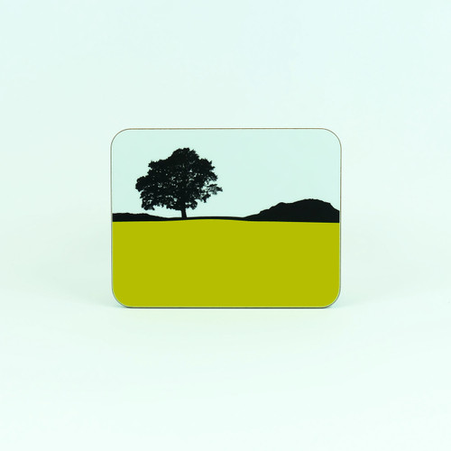Lake District Grasmere drinks coaster by Jacky Al-Samarraie. Lime green.