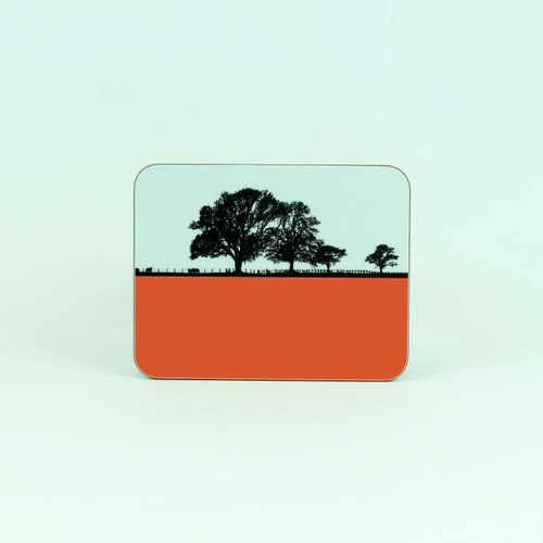 Orange melamine coaster, Cockermouth Cumbria. By Jacky Al-Samarraie