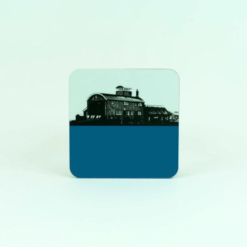 Norfolk drinks coaster in blue - Lifeboat House Blakeney Point by Jacky Al-Samarraie