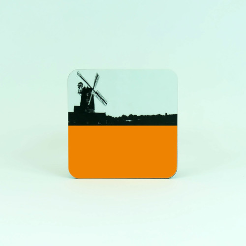 Orange drinks coaster of Cley Windmill in Norfolk by Jacky Al-Samarraie