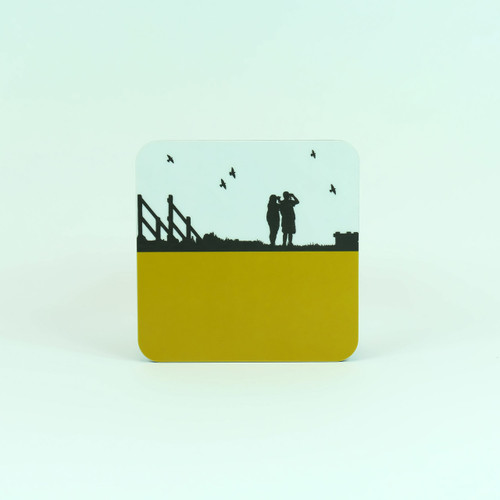 Birdwatching at Cley Marshes. Drinks coaster designed by Jacky Al-Samarraie