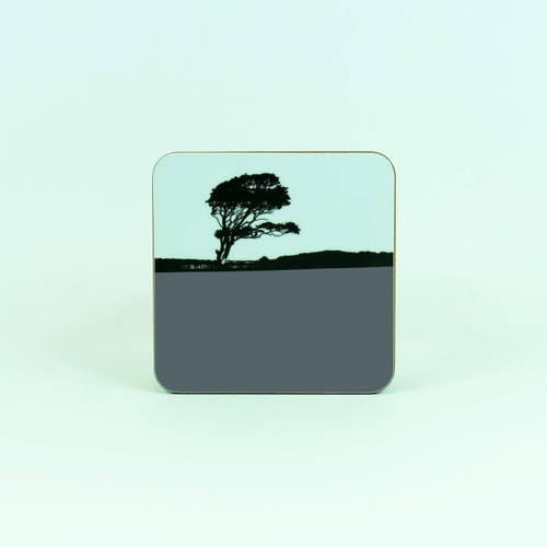 Tree landscape drinks coaster by Jacky Al-Samarraie. Weybourne, Norfolk.