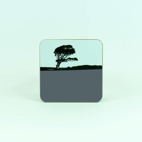Tree landscape drinks coaster by Jacky Al-Samarraie. Weybourne, Norfolk.