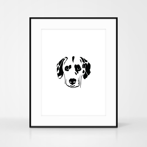 Jacky Al-Samarraie dalmatian dog screen print shown in large black frame