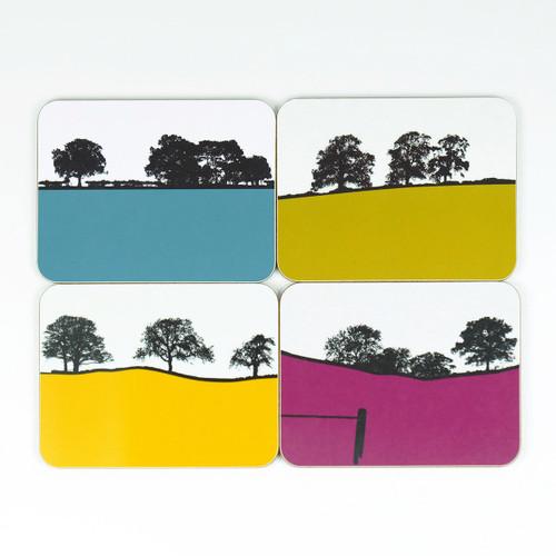 Set of 4 landscape design drinks coasters by Jacky Al-Samarraie