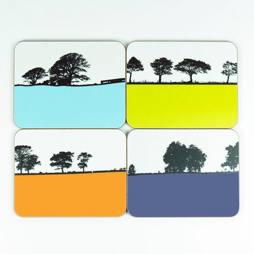 Set of four landscape design drinks coasters by Jacky Al-Samarraie
