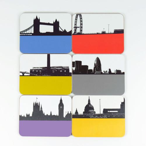 Set of 6 London Cityscape drinks coasters by Jacky Al-Samarraie.