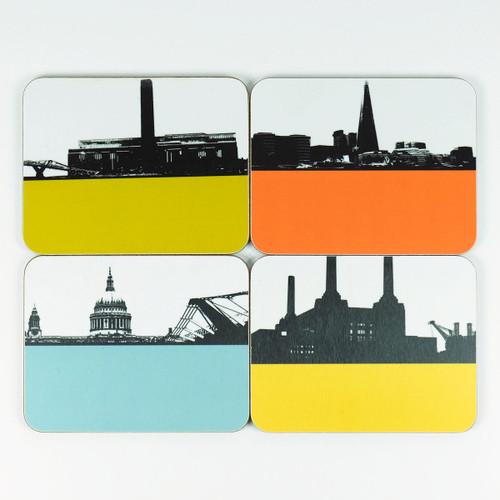 Set of 4 London Cityscape Coasters by Jacky Al-Samarraie