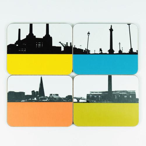 London Coaster set of 4 cityscape designs by Jacky Al-Samarraie