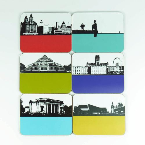 Liverpool coaster set of 6 cityscape designs by Jacky Al-Samarraie
