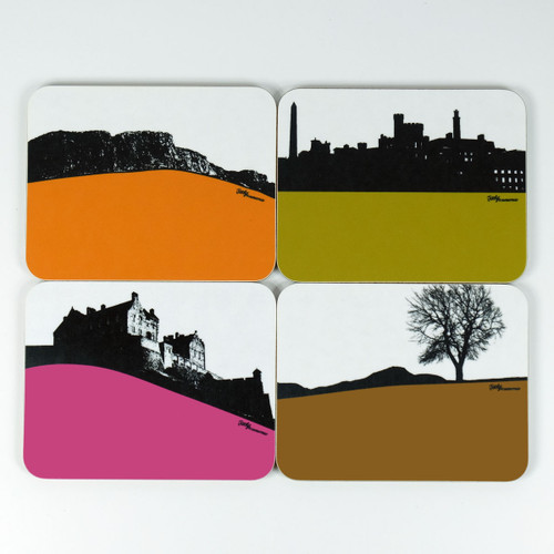 Edinburgh Cityscape Coaster set of 4 designs by Jacky Al-Samarraie
