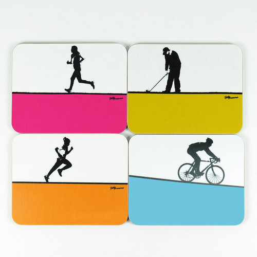 Set of 4 drinks coasters featuring sporting images by Jacky Al-Samarraie