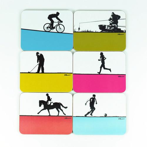 Set of 6 Sports Coasters by Jacky Al-Samarraie