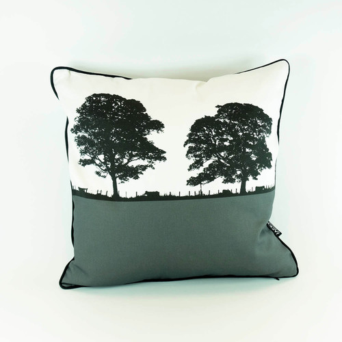 Grey Square Landscape Cotton Cushion by Jacky Al-Samarraie