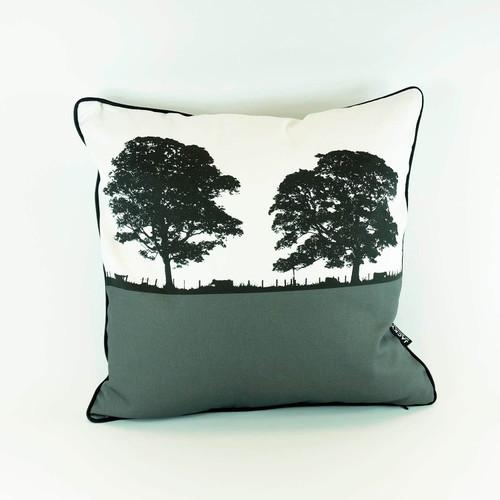 Grey Square Landscape Cotton Cushion by Jacky Al-Samarraie