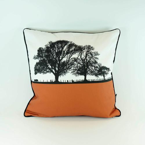 Terracotta Orange Cotton Cushion by Jacky Al-Samarraie